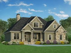 Craftsman House Plan with 2217 Square Feet and 4 Bedrooms from Dream Home Source | House Plan Code DHSW67453