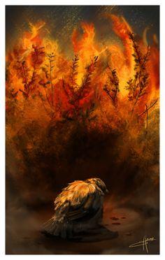 Dying Bird and a Flaming Bush by Calmari.deviantart.com on @deviantART