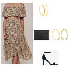 Beige floral off the shoulder crop top and midi skirt+gold earrings+gold bracelet+black envelope clutch+black ankle strap heeleds sandals. Summer Evening Outfit 2016