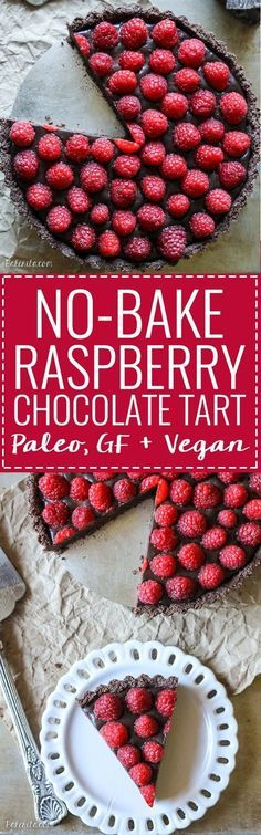 This No-Bake Raspberry Chocolate Tart only takes ten minutes to make and it's SO GOOD! It's also gluten-free, vegan, and Paleo friendly.