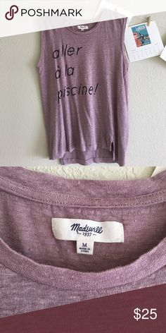 Madewell graphic muscle tank worn a few times, lightweight breathable, cute graphic tank! Madewell Tops