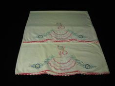 Vintage Pr  Pink Southern Belle Cross Stitched Embroidered Crochet Pillow Cases