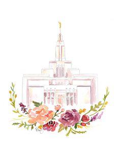 Primavera venta LDS templo acuarela Draper Templo de Draper