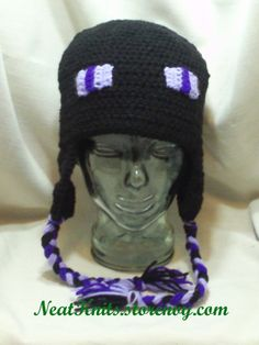 I have to get this for my son! #Handmade, #Enderman, #Minecraft Handmade, crocheted with acrylic yarn