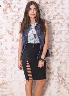 #debrummodas #verão #coleção #saia #fenda #lateral #body #floral #colete #jeans #modafeminina #moda #style #estilo #fashion