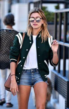 hailey baldwin street style varsity jacket