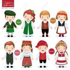 Kids in traditional costume Ireland, Finland, Estonia and Denmark Foto de archivo - 51222627