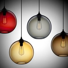 Modern Minimalist Glass Single-Light Globe Pendant - Pendant Lights - Ceiling Lights - Lighting $93