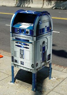 It' an R2-D2 mailbox! Must be so satisfying inserting your messages.... to the Republic! #StarWars #R2D2