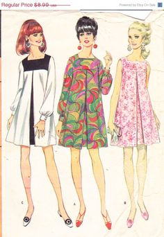 """Perfect dress/tunic for DD: SALE 1960s Vintage Womens Sewing Pattern Mod Dress McCall's 8945 Bust 34"""""""