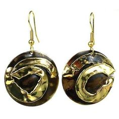 Twisted Ribbon Brass Earrings - Brass Images (E)
