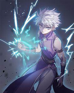 Killua - Hunter x Hunter  ( he sorta reminds me of kakashi hatake in this pic..)