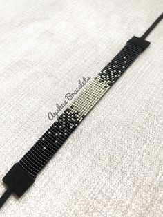 Black and Silver Miyuki Bracelet / Beaded Bracelet / Minimalist Style / Miyuki Bead Bracelet / Miyuki Delica Bead Loom Bracelets, Beaded Bracelet Patterns, Bead Loom Patterns, Miyuki Beads, Handmade Beads, Bracelet Tutorial, Loom Beading, Just For You, Jewelry Making