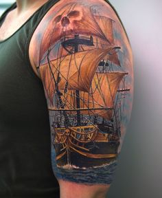 pirate tattoos | Awesome 3D Pirate Ship Tattoo On Left Half Sleeve