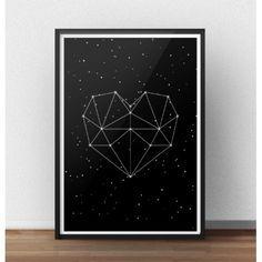 Czarny plakat z gwiazdozbiorem w kształcie serca