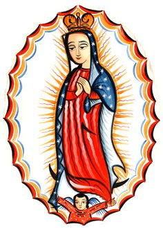 Our Lady of Guadalupe painted by Arturo-Francisco Olivas, a painter of santos in the New Mexican tradition of the 18th and 19th centuries.