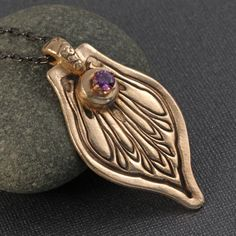 Amethyst CZ and gold bronze metal clay by KathrynDesignsArt, $60.00