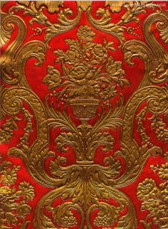 Beautiful gold/red printed and painted leather. Stunning colours and quality. Luxury interior design ideas. Fameed Collection, Book 6, 03