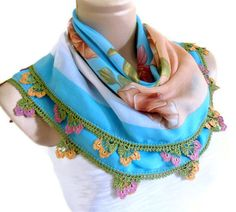 traditional authentic square scarf Blue wedding by likeknitting Handmade Gifts For Her, Unique Gifts, Turkish Fashion, Square Scarf, Spring Colors, Blue Wedding, Summer Collection, Valentine Day Gifts, Spring Fashion