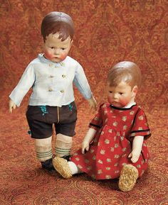 Home At Last - Antique Doll and Dollhouses: 35 Wonderful Pair of German Cloth Characters,Series I,by Kathe Kruse,with Provenance