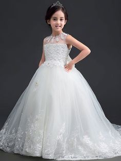 be79256bb5f Bow Lace Sequined Round Collar Sleeveless Long Dress. Girls Fancy Dresses