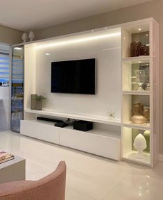 54 likes, 2 comments – Eu Decoração Home Room Design, Home Theater Rooms, Tall Ceiling Living Room, Living Room Design Small Spaces, Living Room Wall Units, House Interior, Tv Room Design, Living Room Tv Unit Designs, Living Room Tv