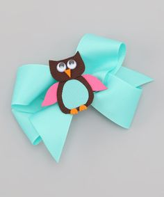 Take a look at this Picture Perfect Hair Bows Blue Owl Bow Clip by What a Hoot: Owl Apparel & Accessories on #zulily today!