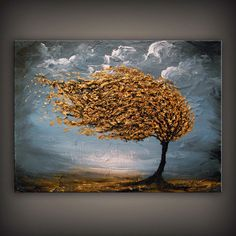Large abstract landscape painting folk art original by mattsart, $319.00