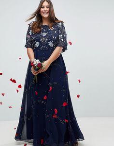 ASOS CURVE Wedding Embellished Floral Flutter Sleeve Maxi Dress (Plus Size)