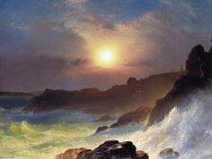 'côte scène, montage désert', huile sur toile de Frederic Edwin Church (1826-1900, United States)