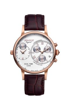 ADVOLAT CAPITAINE Dual Time, Stainless Steel Casing IP rose gold, Face white/rose, Leather Bracelet brown, Ref. 88001/1RG-L3 Up For The Challenge, Limited Edition Watches, Time Zones, Stainless Steel Case, Italian Leather, Rose Gold, Jet, Sapphire, Gold Face