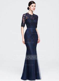 JJsHouse Trumpet/Mermaid Scoop Neck Floor-Length Beading Appliques Lace Sequins Zipper Up Sleeves Sleeves No Dark Navy Winter Spring Fall General Plus Tulle Evening Dress. Lace Ball Gowns, Chiffon Evening Dresses, Cheap Evening Dresses, Lace Bridesmaid Dresses, Wedding Party Dresses, Prom Dresses, Formal Dresses, Bride Dresses, Vestidos Fashion