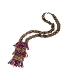 Ethnic Long Necklace With Colored Bead Fringe by ETRO
