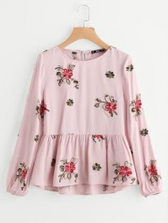 Spring smock embroidered blouse. Floral embroidered blouse can match plain jeans and skirts! Flower Embroidered Smock Top Style: Casual Decoration: Ruffle, Embroidery, Button Collar: Round Neck Pattern Type: Floral Color: Multicolor Material: 50% Cotton, 50% Polyester Sleeve Length: Long Sleeve Fit Type: Regular Fit Fabric: Fabric has some stretch Shirt Type: Top Season: Spring, Fall
