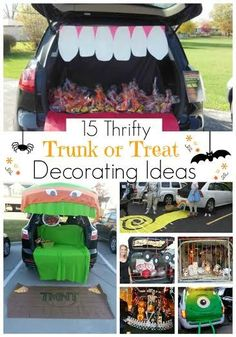 This post is totally helpful for finding tons of ideas on trunk or treats that aren't so expensive. My favorite is the yellow brick road one - so adorable! 15 Thrifty Trunk or Treat Decorating Ideas
