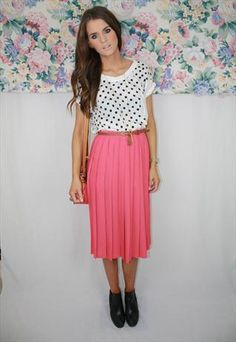 Pastel Pink Pleated Midi Skirt Size 8