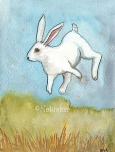 Original  Watercolor Rabbit Painting Silver Binky by bluedogrose, $36.00