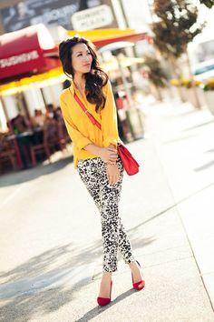 loose bright shirt with shirt skirt/shite jeans/patterned jeans/patterned skirt/white shorts
