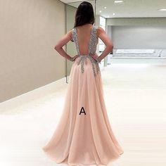 A-Line V-neck Sweep Train Champagne Chiffon Prom Dress with Beading Split