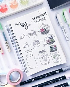 """4,459 Likes, 32 Comments - stationery│notes│bujo ✨ (@study.duoo) on Instagram: """"glad you guys are liking these step by step doodle tutorials!! ✨// terrariums have been requested…"""""""
