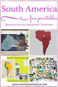 South America - Free Educational Printables. Resources for the Montessori Classroom (KLP LINK UP)   Montessori Nature