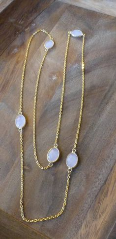 Gold and light pink chain necklace by HastonKing on Etsy
