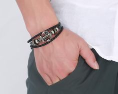 Anchor Design Tan Buffalo Hide Hand Made Leather Bracelet
