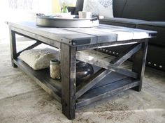 Rustic X Distressed Handmade Coffee Table Weathered Midnight image 1 Modern Farmhouse Table, Rustic Table, Farmhouse Furniture, Furniture Redo, Furniture Projects, Farmhouse Decor, My Living Room, Interior Design Living Room, Campaign Furniture