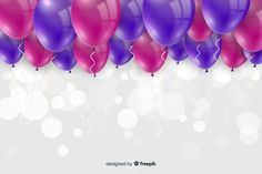 Birthday background with realistic balloons Free Vector Pink Birthday, 50th Birthday, Happy Birthday, Birthday Background, Adobe Illustrator, Balloons, Vector Freepik, Wallpaper, Party