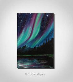 Aurora borealis Mountains Starry sky Galaxy painting Oil