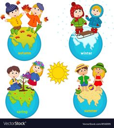 children and four seasons on the planet - vector illustration, eps Diy Crafts To Do, Crafts For Kids, Opposites For Kids, Four Seasons Art, Planet Vector, Pencil Drawings Of Flowers, Free Vector Art, School Projects, Preschool Activities