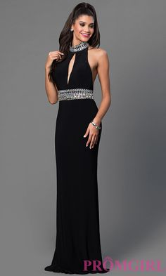 Image of Long Open Back High Neck Prom Dress Style: JO-JVN-JVN22328 Detail Image 2