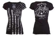 Archaic AFFLICTION Womens T-Shirt NATION Tattoo Biker USA FLAG Sinful S-XL $40 b