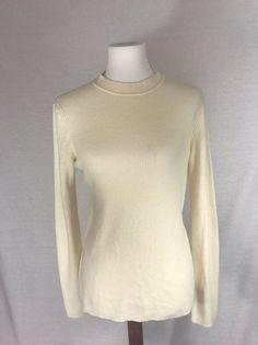 RAG & BONE Women's Ivory White Long Sleeve Fitted Sweater Large $150 #ragbone #Crewneck #Work #fashion #ebay #sweater #cashmere